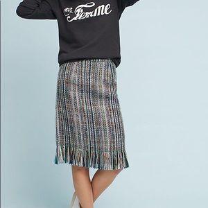 ⚠️ Anthropologie Maeve fringed tweed pencil skirt